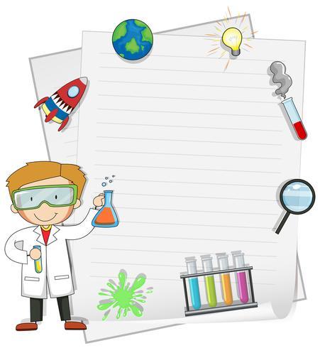 Mannelijke wetenschapper met notasjabloon vector