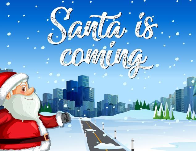 De kerstman komt naar de stad vector