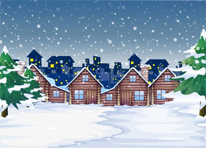 Een achtergrond van de winternacht vector