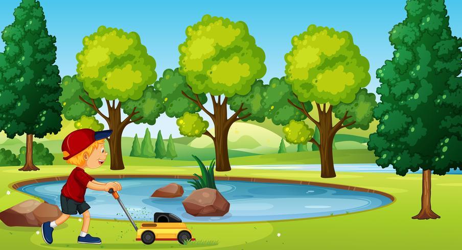 Een jongen tuinieren met grasmaaier vector