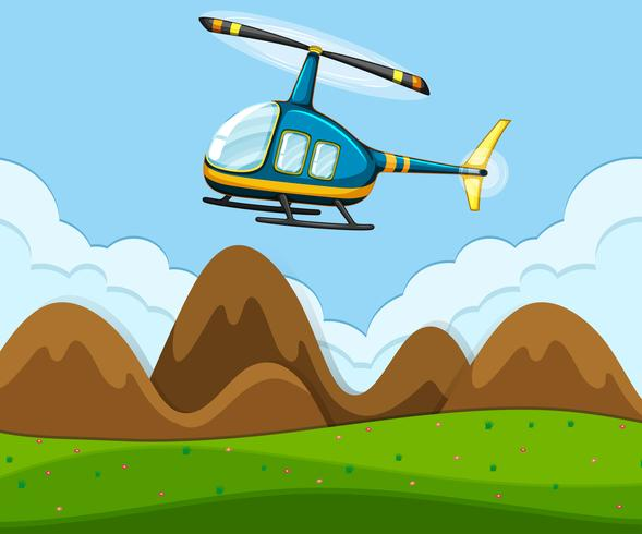 Een helikopter vliegt boven de grond vector