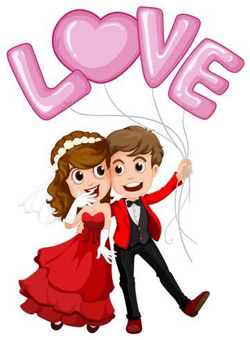 Bruidspaar en liefde ballon vector