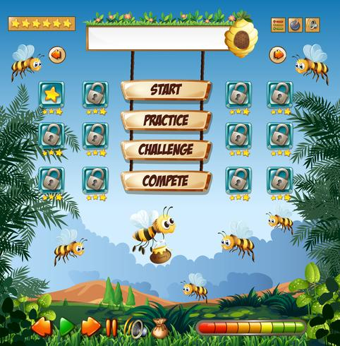 Honey Bee game sjabloon vector