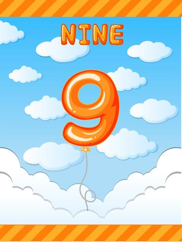Nummer negen ballon op hemel vector
