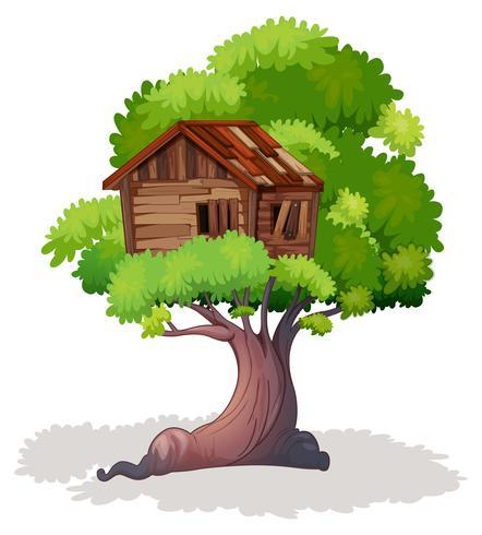 Treehouse op de boom vector