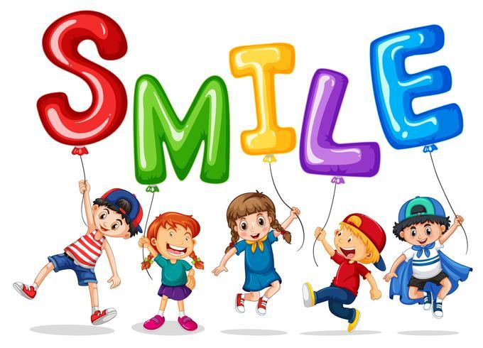 Gelukkige kinderen en ballonnen voor woord glimlach vector