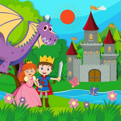 Sprookjesachtige scène met prins en prinses vector