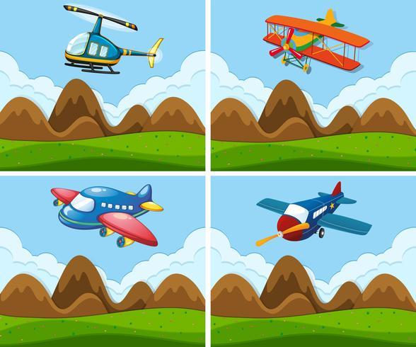 Een set van vliegtuig op sky vector