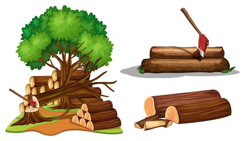 Een set boom wordt gesneden vector