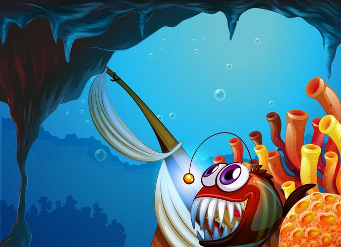 Een grot onder de zee vector