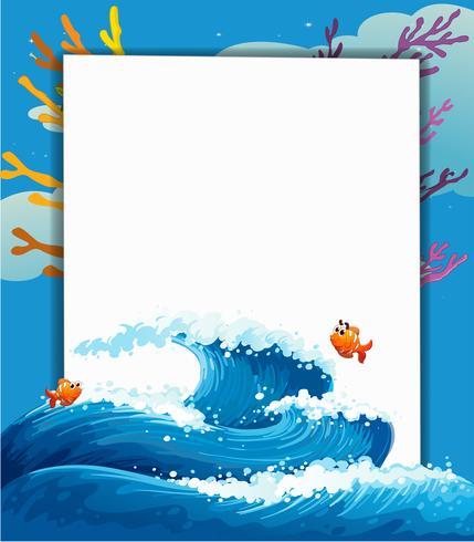 Een lege sjabloon aan de zee met vissen vector