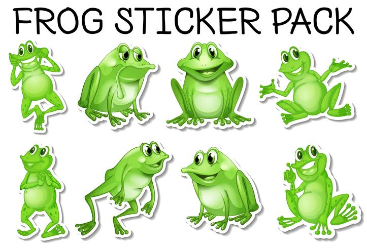 Sticker set van groene kikkers vector
