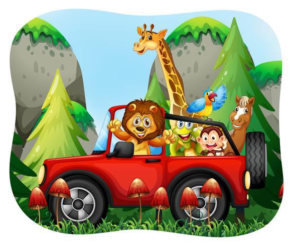 Wilde dieren rijden op jeep vector