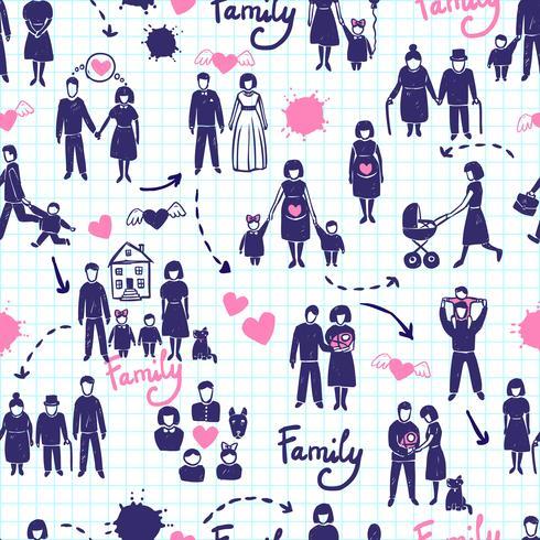 Familie naadloze patroon vector