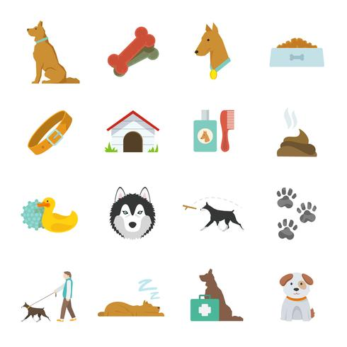 Hond pictogrammen plat vector