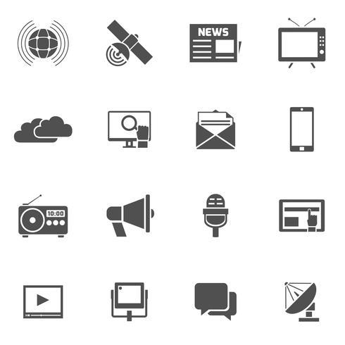 media pictogrammen instellen vector