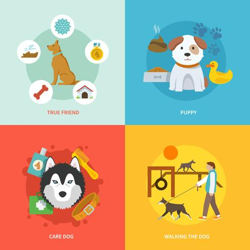 Hond pictogrammen platte Set vector