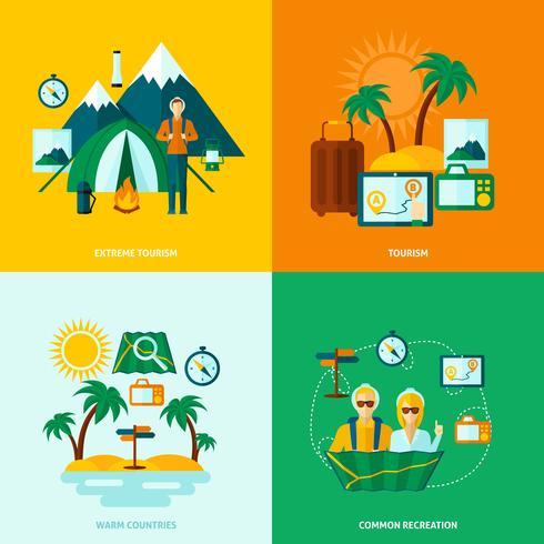 vlakke toeristische set vector