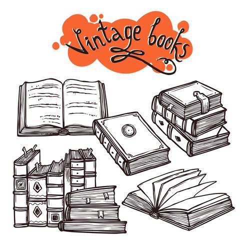 Boeken instellen zwart en wit vector