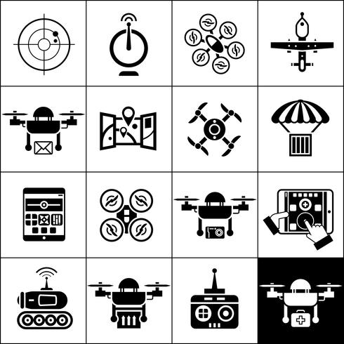 drone pictogrammen zwart vector