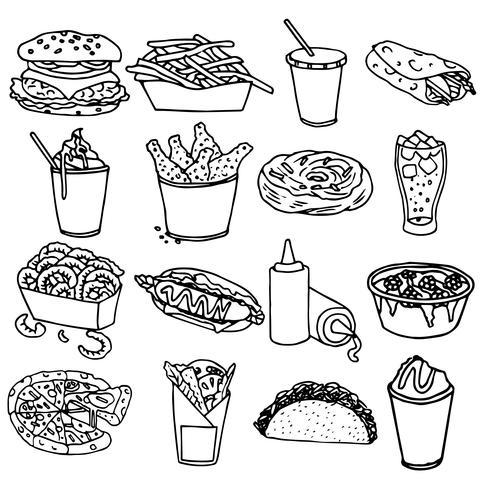 Fast-food menu pictogrammen zwarte omtrek vector