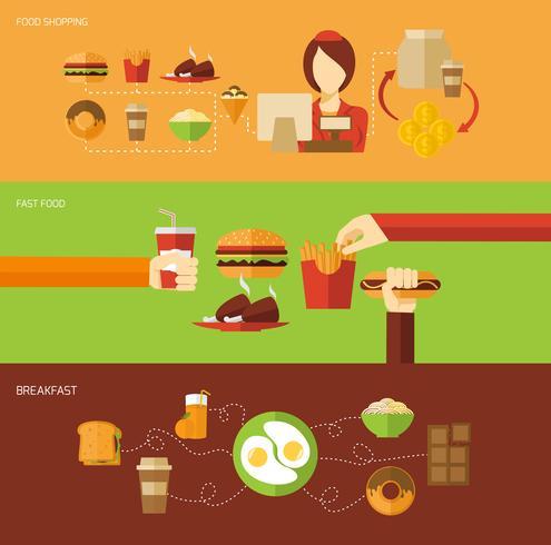 Fastfood-bannerset vector