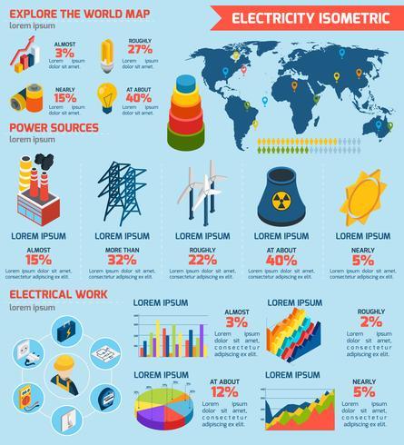 Elektriciteit isometrische Infographics vector