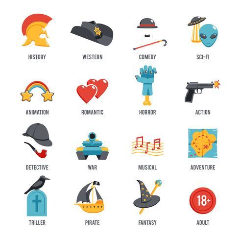 film genres icon set vector