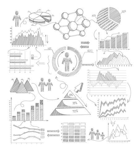 Schetsdiagrammen Infographics vector