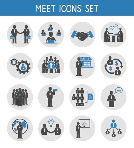 Vlakke bedrijfsmensen die geplaatste pictogrammen ontmoeten vector