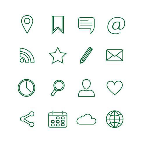Contour sociale media pictogrammen instellen vector