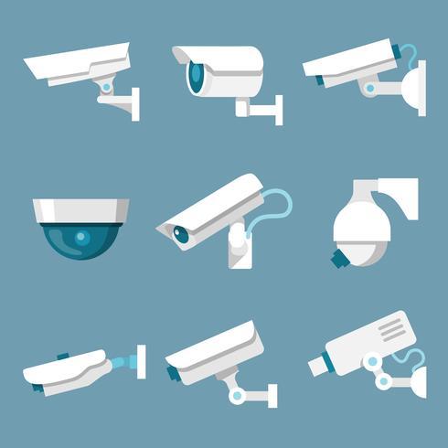 Beveiligingscamera's pictogrammen instellen vector