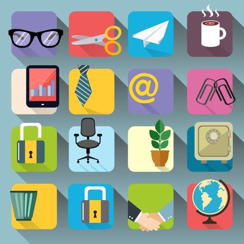 Zakelijke Kantoorbenodigdheden Briefpapier Icons Set vector