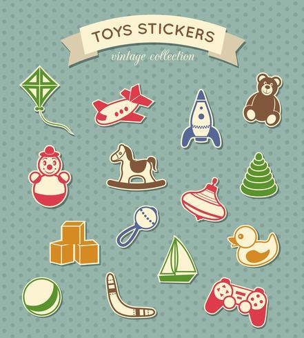 Speelgoed stickers vintage collectie vector
