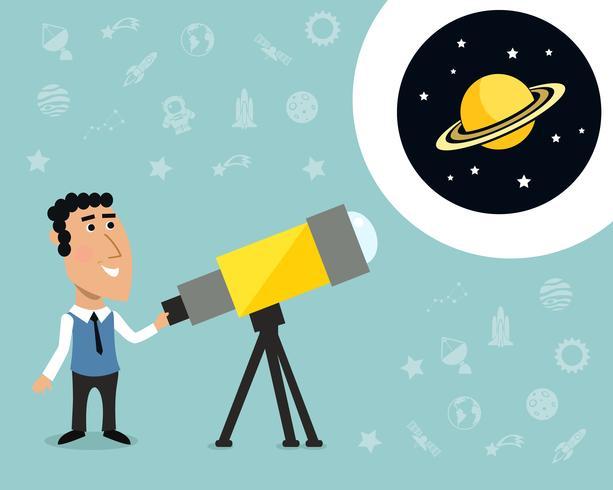 Astronoom met telescoopafdruk vector