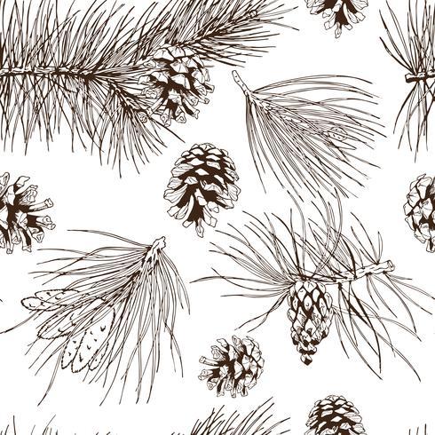 Pijnboomtakken naadloze patroon vector