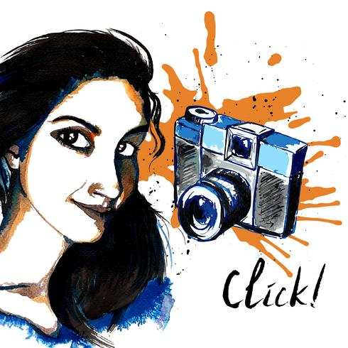 Meisje inkt hipster camera vector