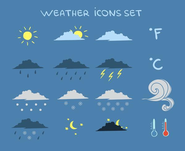 Weersverwachting Icons Set vector