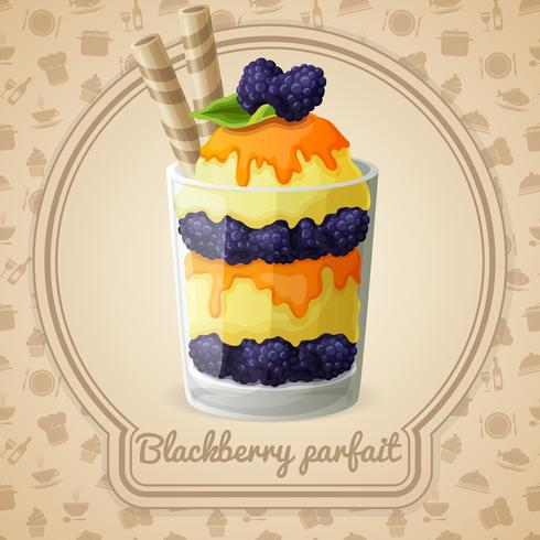 Blackberry parfait-badge vector