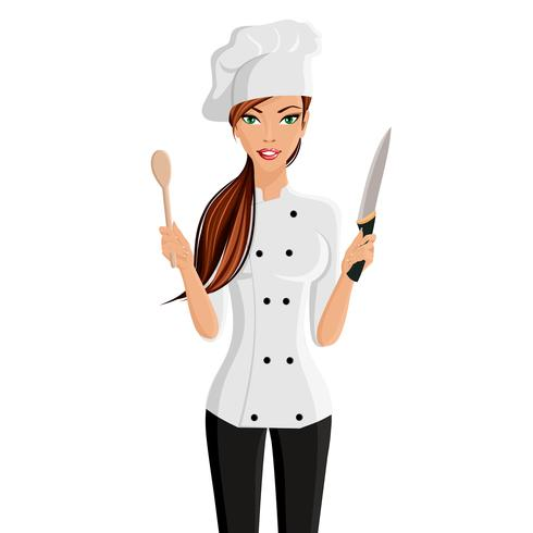 Vrouw chef-kok portret vector