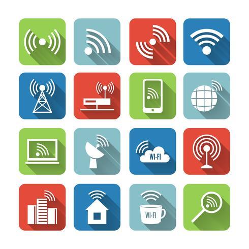 Draadloze communicatie netwerk Icons Set vector