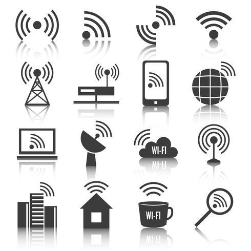 Draadloze communicatienetwerk pictogrammen instellen vector