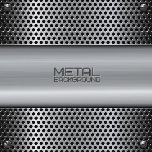 Geperforeerde metalen achtergrond met schroeven vector