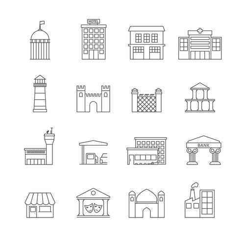 Overheidsgebouwen pictogrammen vector
