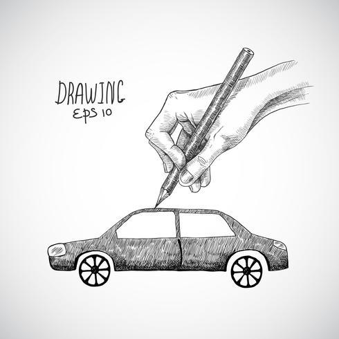 Hand tekening auto vector