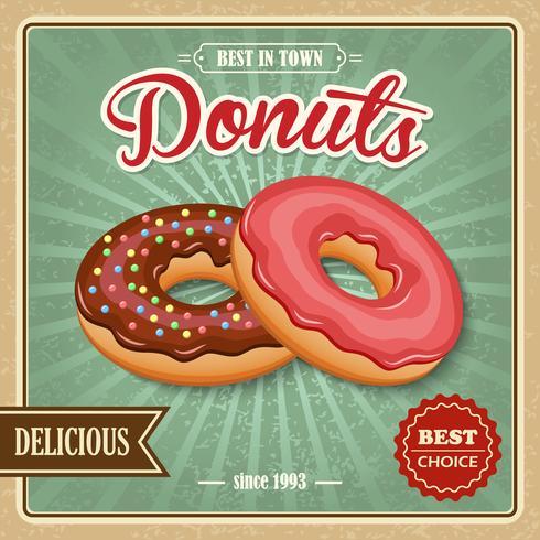 Doughnut retro poster vector