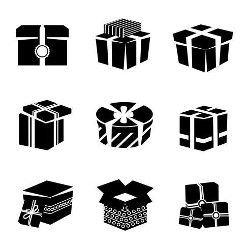 Geschenkdoos zwart-wit pictogrammen instellen vector