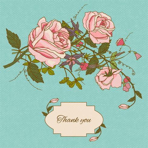 Vintage bloemen kaart kleur vector