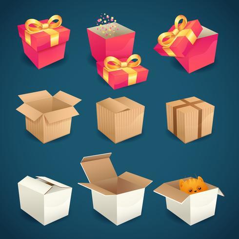 Box- en pakketpictogrammen vector