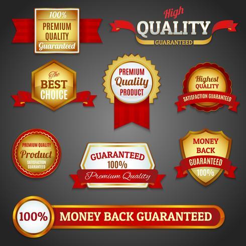 Gouden kwaliteitslabels instellen vector